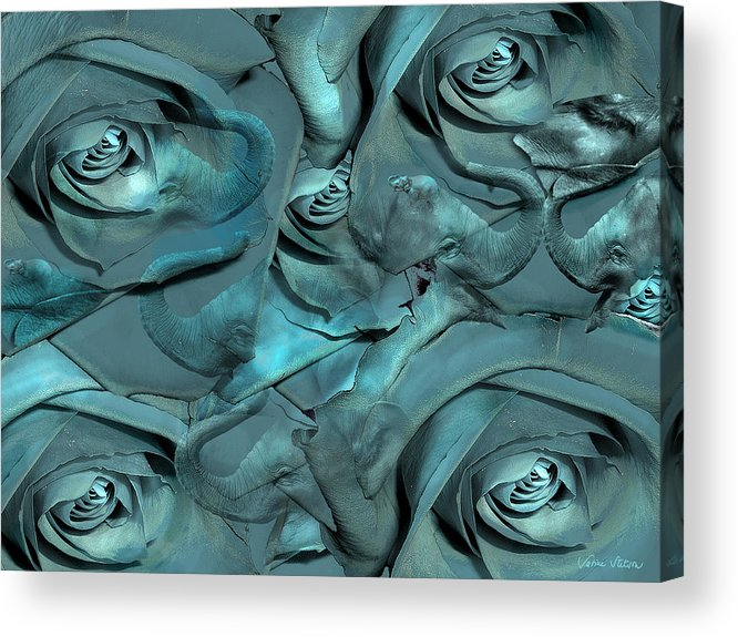 Roses Acrylic Print featuring the digital art Layers by Sabine Stetson