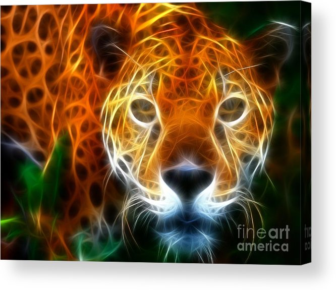 Leopard Acrylic Print featuring the mixed media Leopard Watching At His Prey by Pamela Johnson