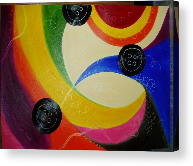 Abstract Acrylic Print featuring the painting Les Boutons Noirs 2 by Dominique Boutaud