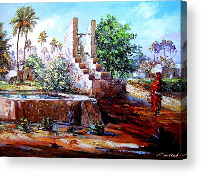 Nutre Acrylic Print featuring the painting Libyan Farm by Abdussalam Nattah