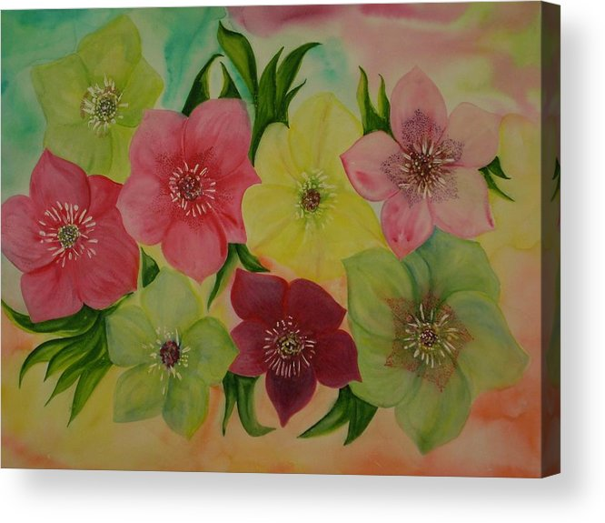 Flowers Acrylic Print featuring the painting Life In Color by Murielle Hebert