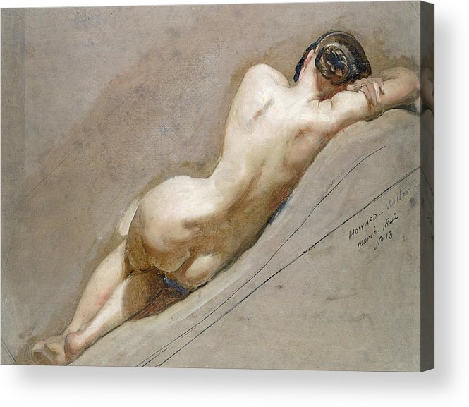 Nude; Back Acrylic Print featuring the painting Life Study Of The Female Figure by William Edward Frost