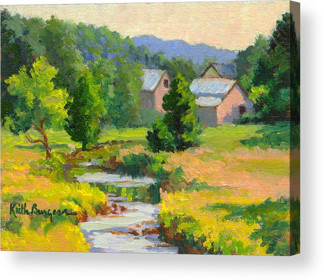 Landscape Acrylic Print featuring the painting Little Creek Farm by Keith Burgess