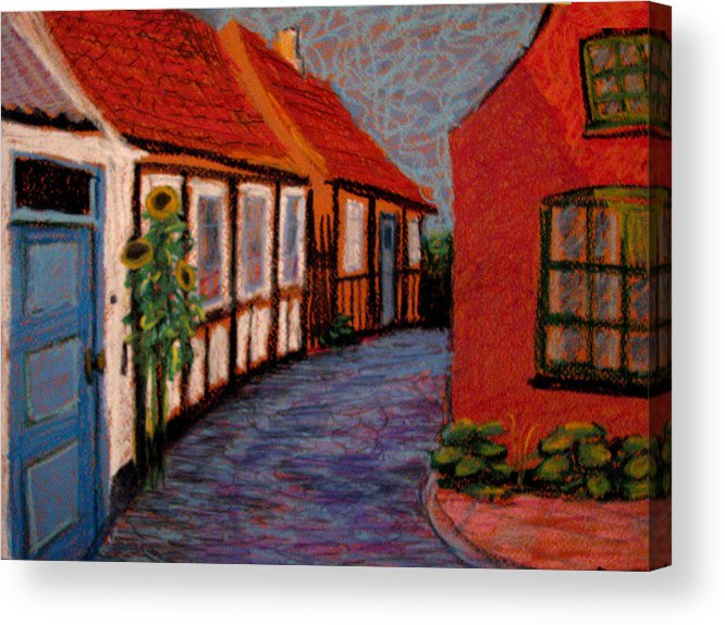 Bornholm Acrylic Print featuring the painting Little Houses On Bornholm Island by Art Nomad Sandra Hansen
