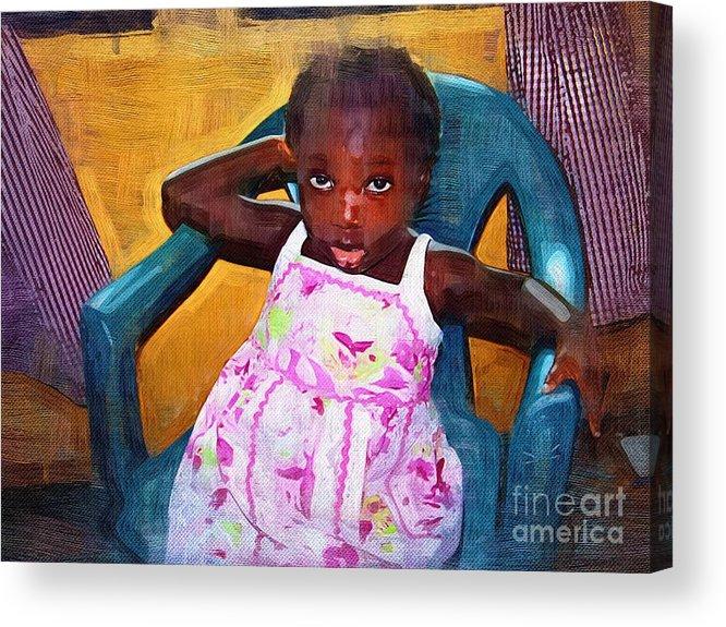 Orphan Acrylic Print featuring the painting Little Orphan Girl by Deborah Selib-Haig DMacq