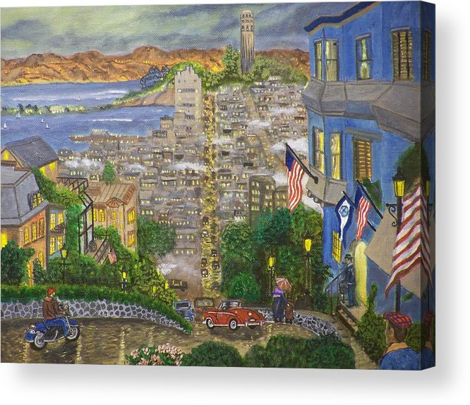 Landscape Acrylic Print featuring the painting Lombard Street by Charles Vaughn
