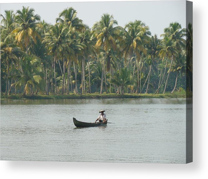 Landscape Acrylic Print featuring the photograph Lone Fisherman by Reshmi Shankar