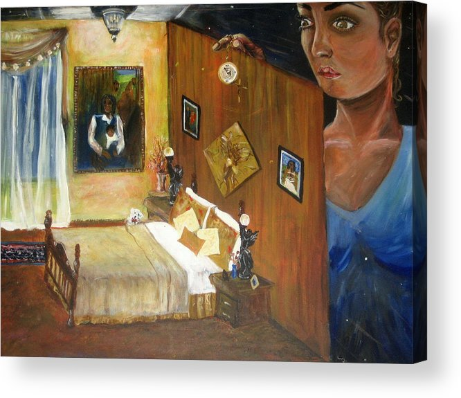 Oil Acrylic Print featuring the painting Looking Back by Jessica De la Torre