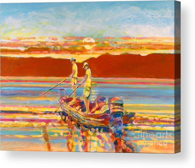 Fishing Acrylic Print featuring the painting Looking For The Big One by Kip Decker