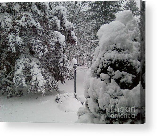 First Snow Acrylic Print featuring the photograph Looking Out My Front Door by Carol Wisniewski