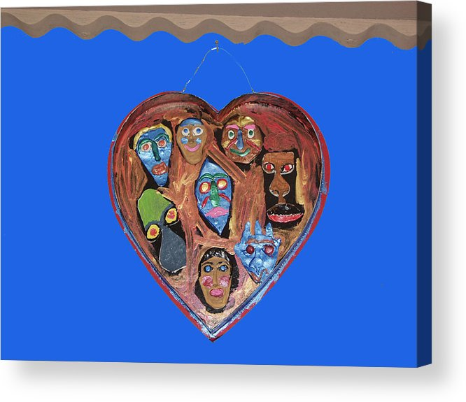 Lovable Faces Acrylic Print featuring the mixed media Lovable Funny Faces by Betty Roberts