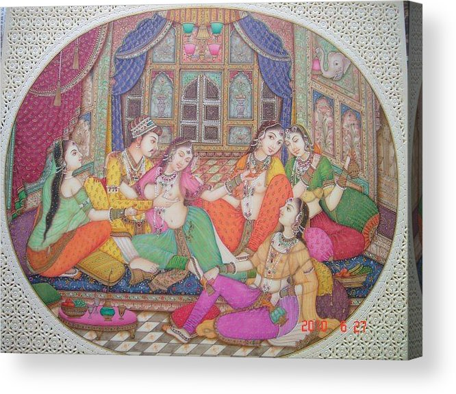 Indian Miniature Acrylic Print featuring the painting Love Seen by Devendra Sharma