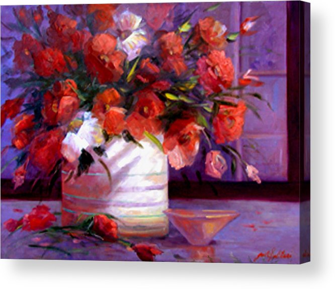 Floral Acrylic Print featuring the painting Love You Susi  by Gail Salitui