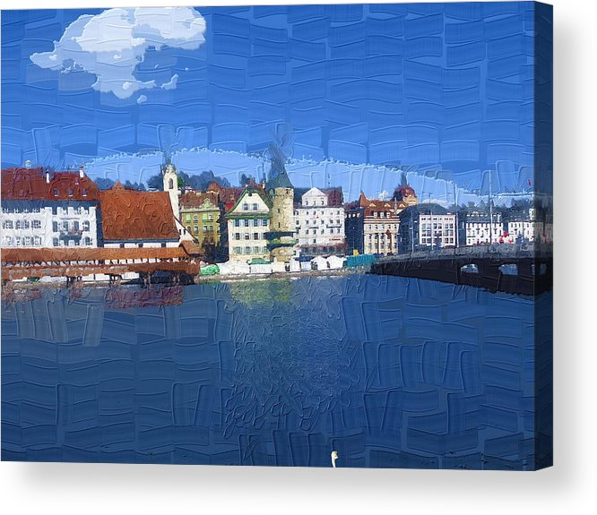 Landscape Acrylic Print featuring the photograph Luzern Lake Front by Chuck Shafer