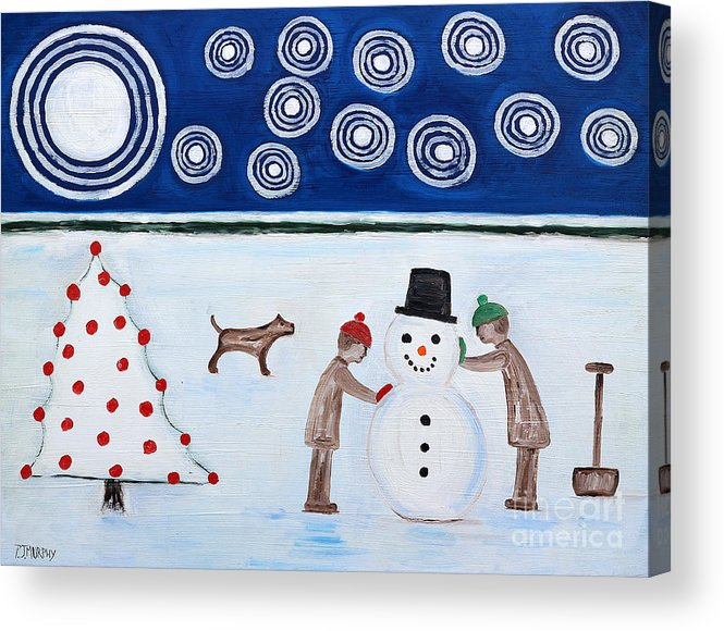 Snowman Acrylic Print featuring the painting Making A Snowman At Christmas by Patrick J Murphy