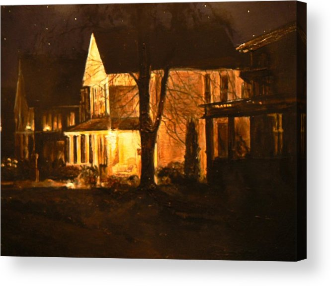 Night Scene Acrylic Print featuring the painting Maple Avenue Nocturne by Thomas Akers