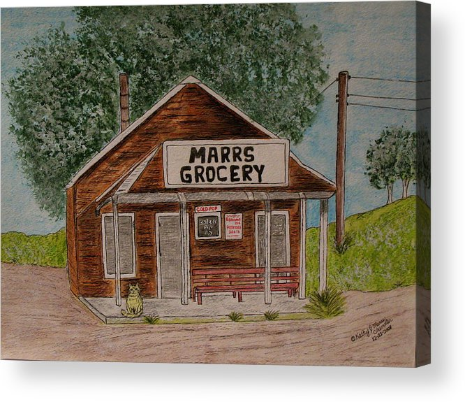 Marrs Acrylic Print featuring the painting Marrs Country Grocery Store by Kathy Marrs Chandler