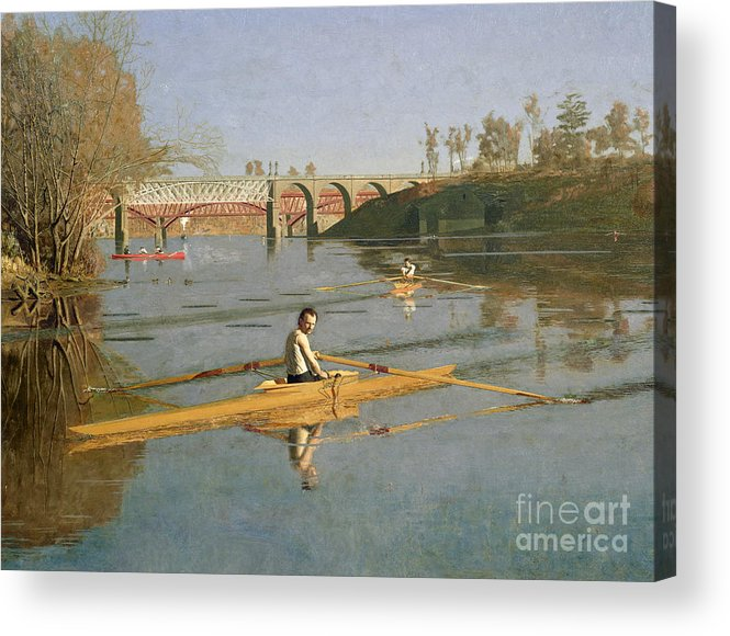 Max Acrylic Print featuring the painting Max Schmitt In A Single Scull by Thomas Cowperthwait Eakins