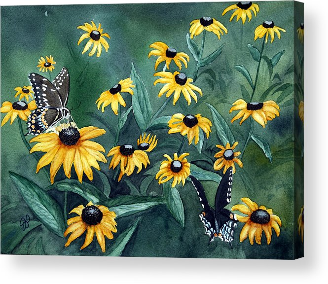 Butterflies Acrylic Print featuring the painting Meeting Place by Julie Pflanzer
