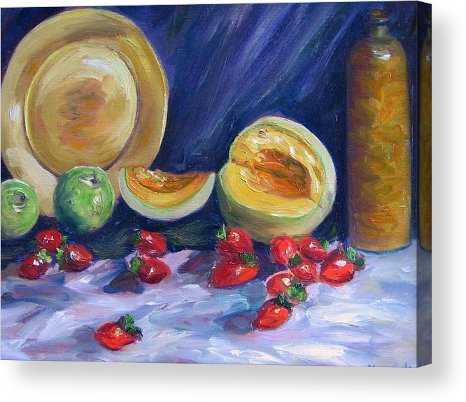 Still Life Acrylic Print featuring the painting Melons With Strawberries by Richard Nowak