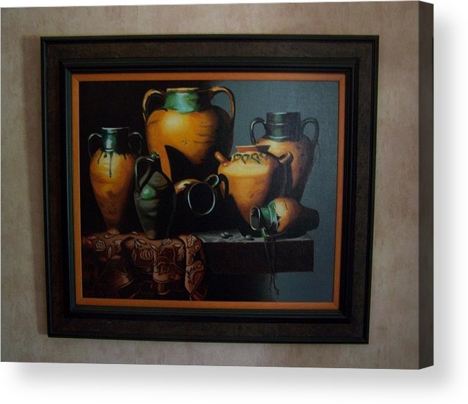 Stilllife Painting Acrylic Print featuring the painting Mexican Pottery by Robert E Gebler