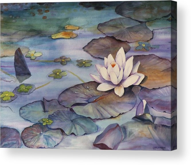 Lily Acrylic Print featuring the painting Midnight Lily by Jun Jamosmos