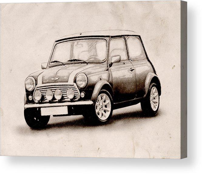 Mini Cooper Acrylic Print featuring the digital art Mini Cooper Sketch by Michael Tompsett