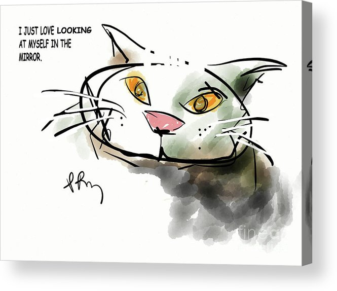 Narcissistic Cats Acrylic Print featuring the digital art Mirror Cat by Paul Miller