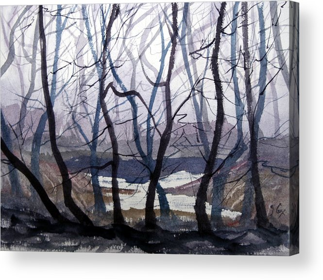Landscape. Mist. Trees. Atmosphere. Acrylic Print featuring the painting Misty Morning by John Cox
