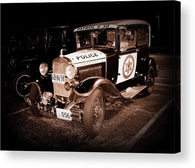 Car Acrylic Print featuring the photograph Model A Culver City Police Bw by David Dunham