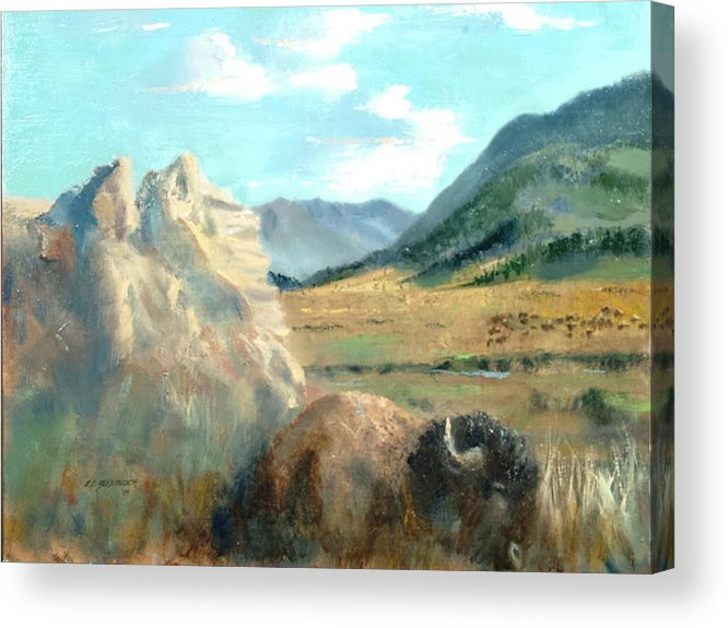 Bison Acrylic Print featuring the painting Monarch Of Yellowstone by Bryan Alexander