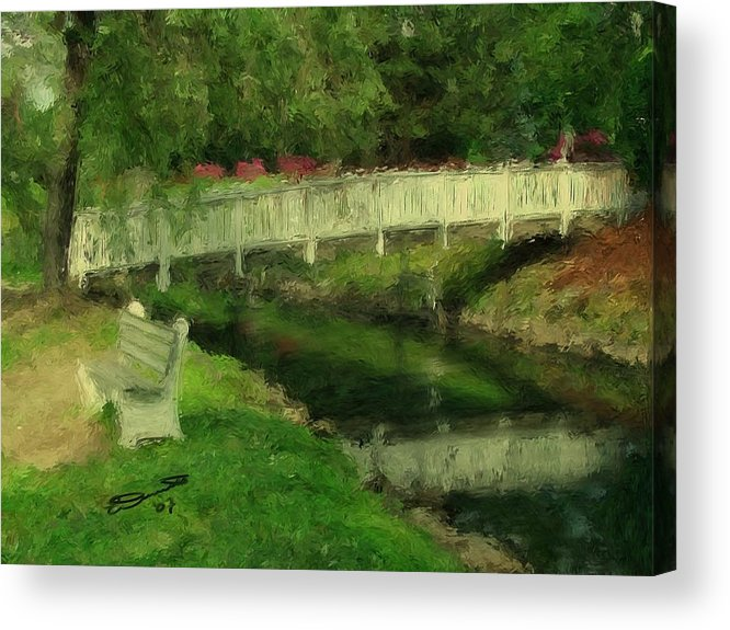 Red Water White Park Green Painting Bridge Pond Oil Bench Impressionism Monet Acrylic Print featuring the painting Monet's Bridge by Eddie Durrett