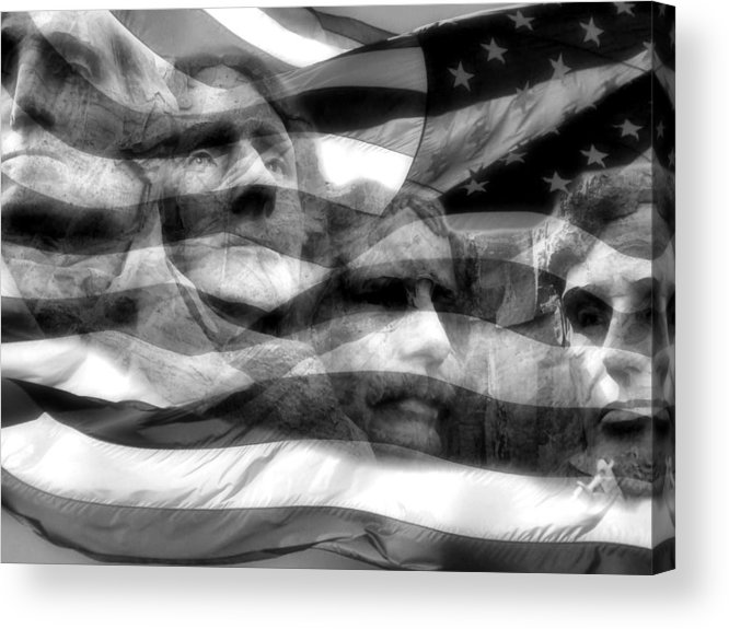 Mount Rushmore Acrylic Print featuring the photograph Mono Fathers by Tingy Wende