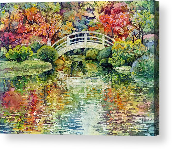 Moon Bridge Acrylic Print featuring the painting Moon Bridge by Hailey E Herrera