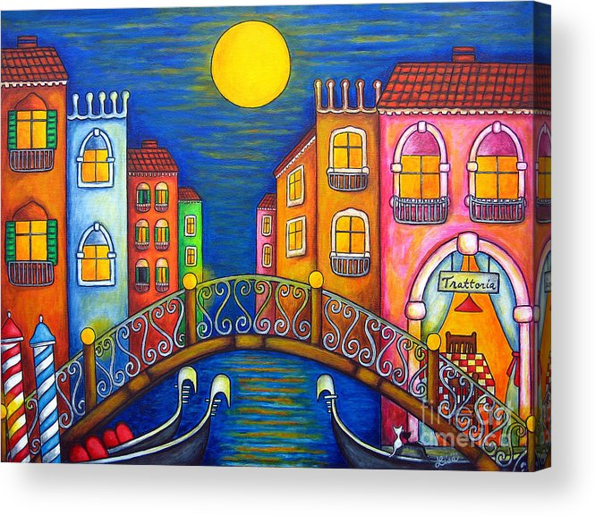 Venice Acrylic Print featuring the painting Moonlit Venice by Lisa Lorenz