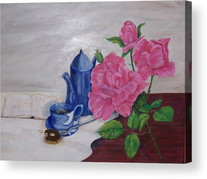 Still Life Acrylic Print featuring the painting Morning Coffee by Penny Everhart