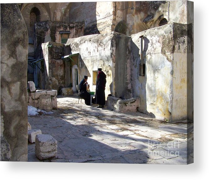 Jerusalem Acrylic Print featuring the photograph Morning Conversation by Kathy McClure