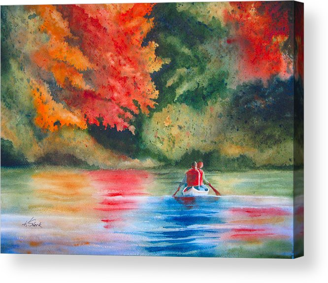 Lake Acrylic Print featuring the painting Morning On The Lake by Karen Stark