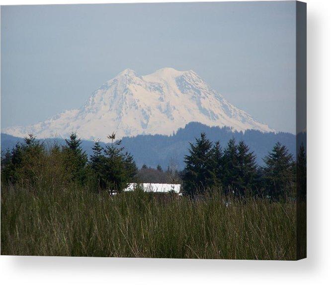 Digital Photography Acrylic Print featuring the photograph Mount Rainier Again by Laurie Kidd