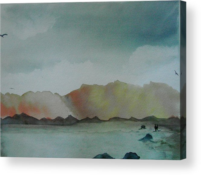 Landscape Acrylic Print featuring the painting Mountain Lake by Dottie Briggs