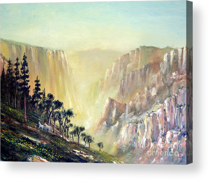 Mountain Acrylic Print featuring the painting Mountain Of The Horses 1989 by Wingsdomain Art and Photography