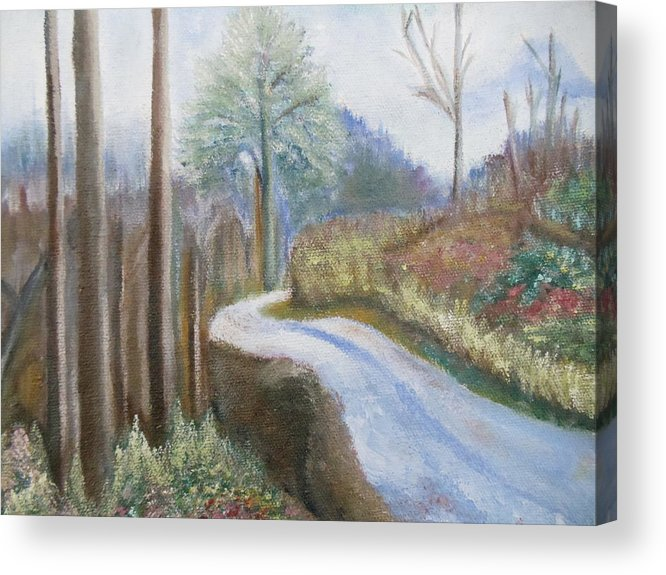 Landscape Acrylic Print featuring the painting Mountain Road by Lugenia Dixon