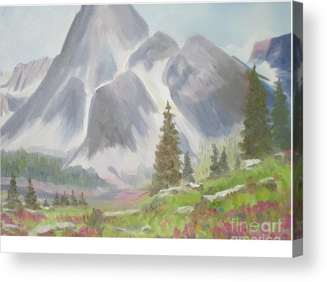 Landscape Acrylic Print featuring the painting Mountains And Meadows by Hal Newhouser