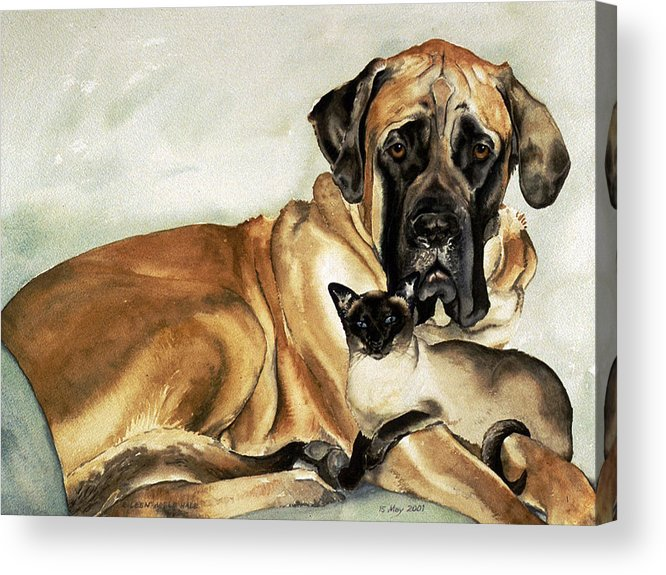 Portrait Acrylic Print featuring the painting Murphy And Cody by Eileen Hale