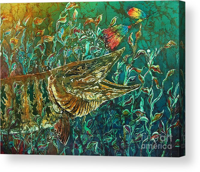 Batik Acrylic Print featuring the tapestry - textile Musky- Chasin by Sue Duda
