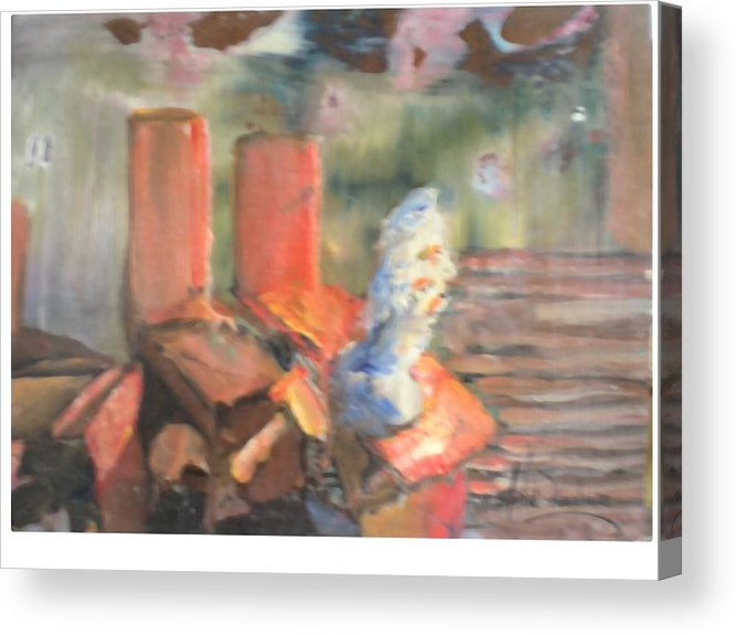 Studio Bench And Cast Acrylic Print featuring the painting My Sudio by Hal Newhouser