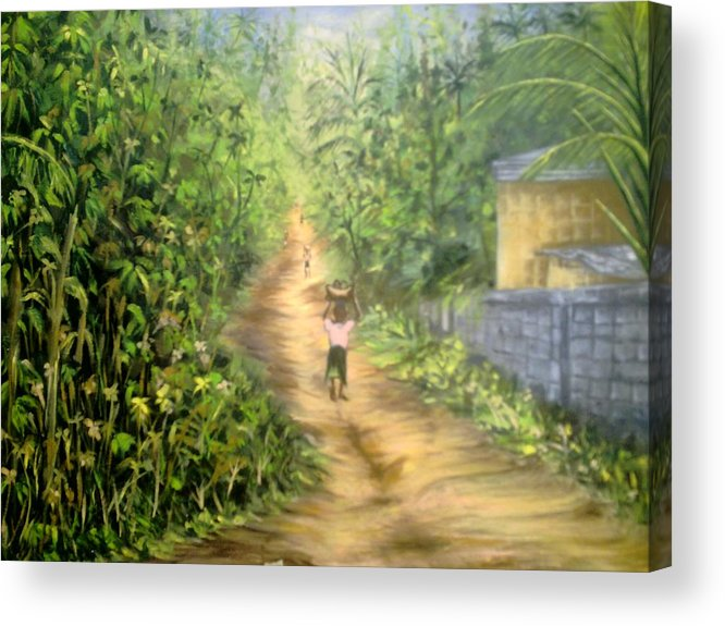 Culture Acrylic Print featuring the painting My Village by Olaoluwa Smith