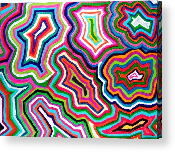 Abstract Acrylic Print featuring the drawing Nanas Quilt by Katina Cote
