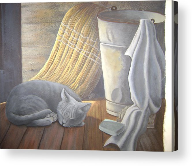 Still-life. Cat Acrylic Print featuring the painting Naptime by Judy Keefer