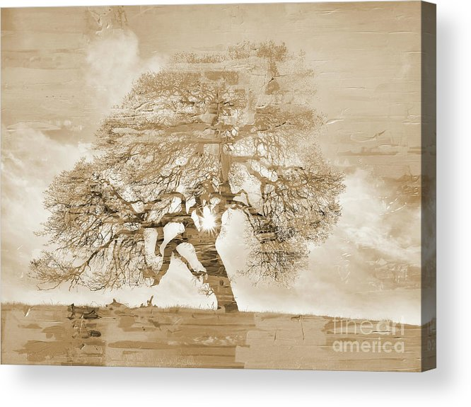 Painting Acrylic Print featuring the painting Natural Tree by Gull G